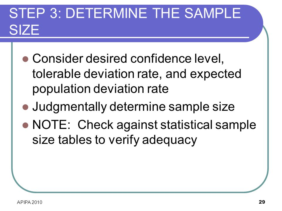 STEP 3: DETERMINE THE SAMPLE SIZE