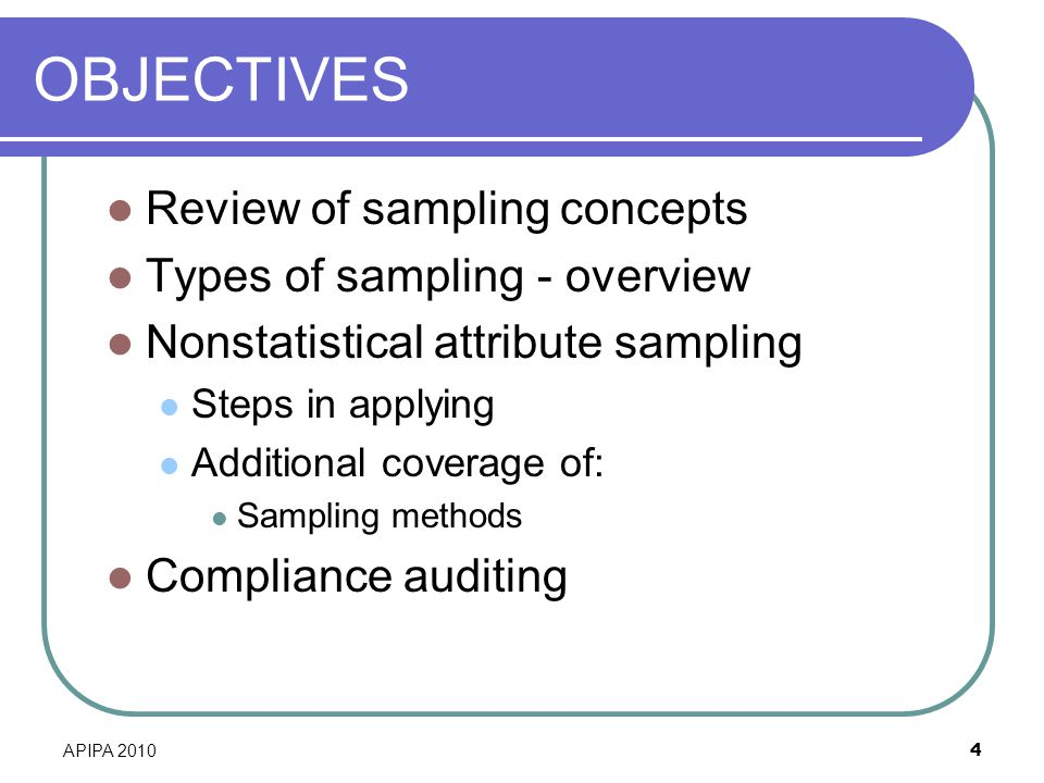 OBJECTIVES Review of sampling concepts Types of sampling - overview