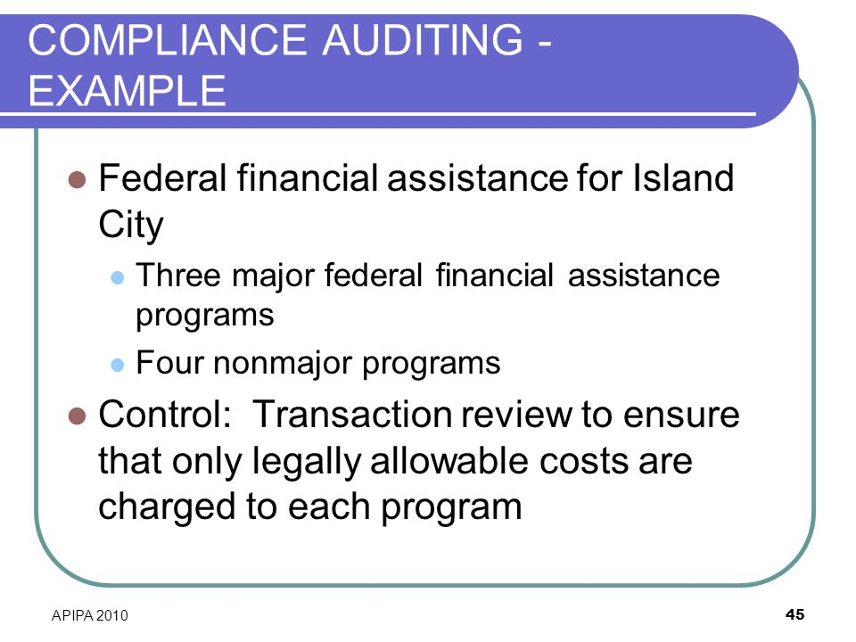 COMPLIANCE AUDITING - EXAMPLE