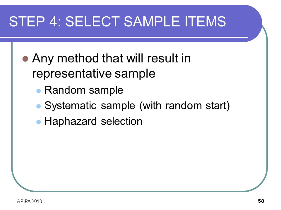 STEP 4: SELECT SAMPLE ITEMS