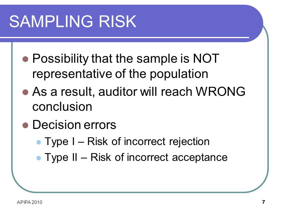 SAMPLING RISK Possibility that the sample is NOT representative of the population. As a result, auditor will reach WRONG conclusion.