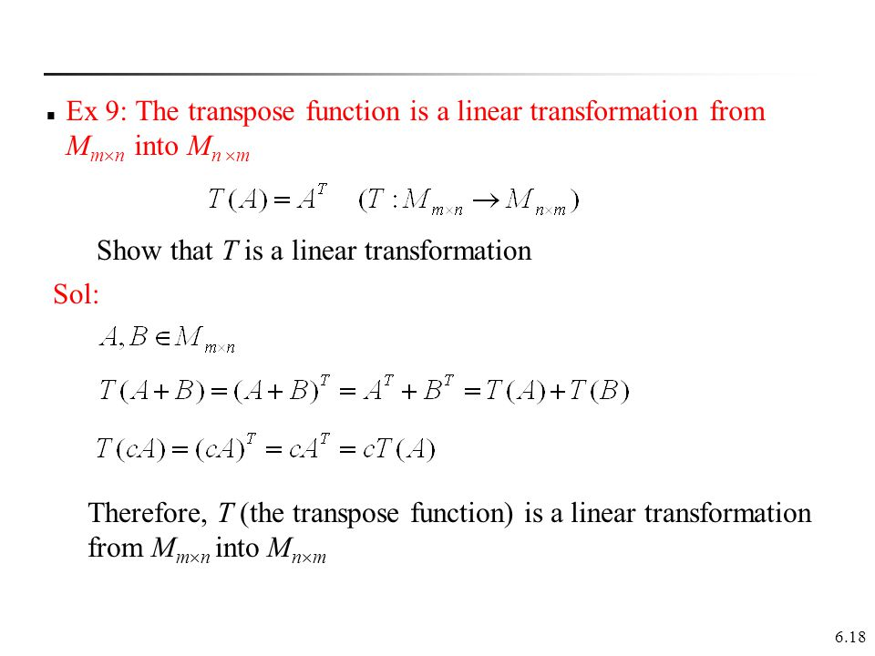 how to know if a transformation is linear