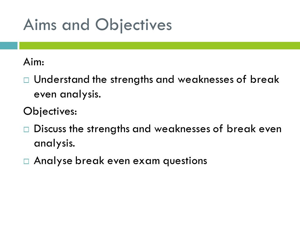 what are the applications of break even analysis