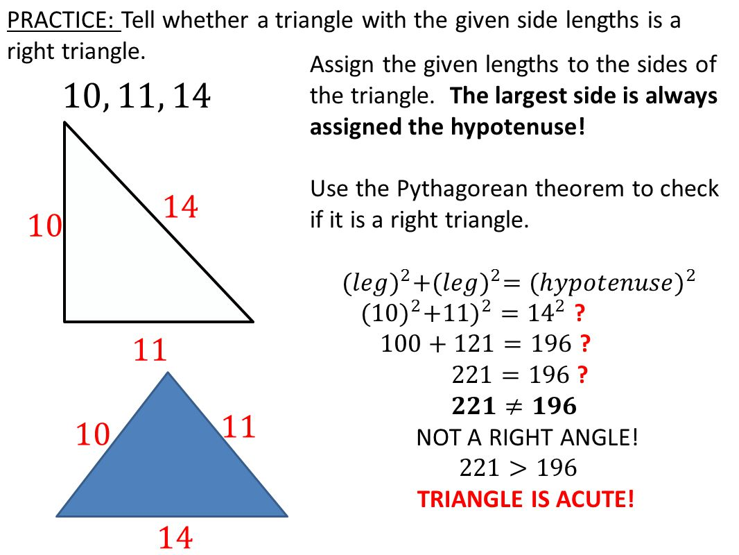 Practice: Tell Whether A Triangle With The Given Side Lengths Is A Right Triangle  How