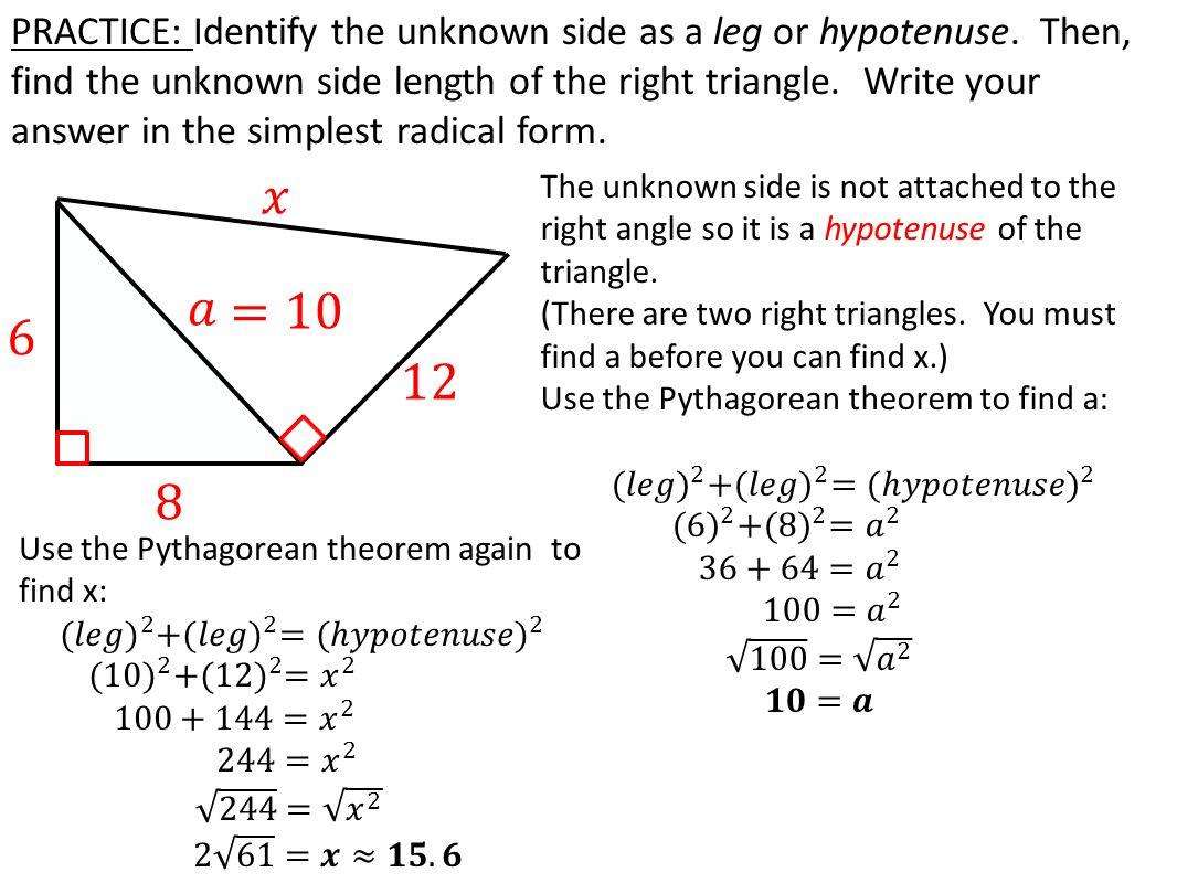 pythagorean theorem with radicals worksheet resultinfos. Black Bedroom Furniture Sets. Home Design Ideas