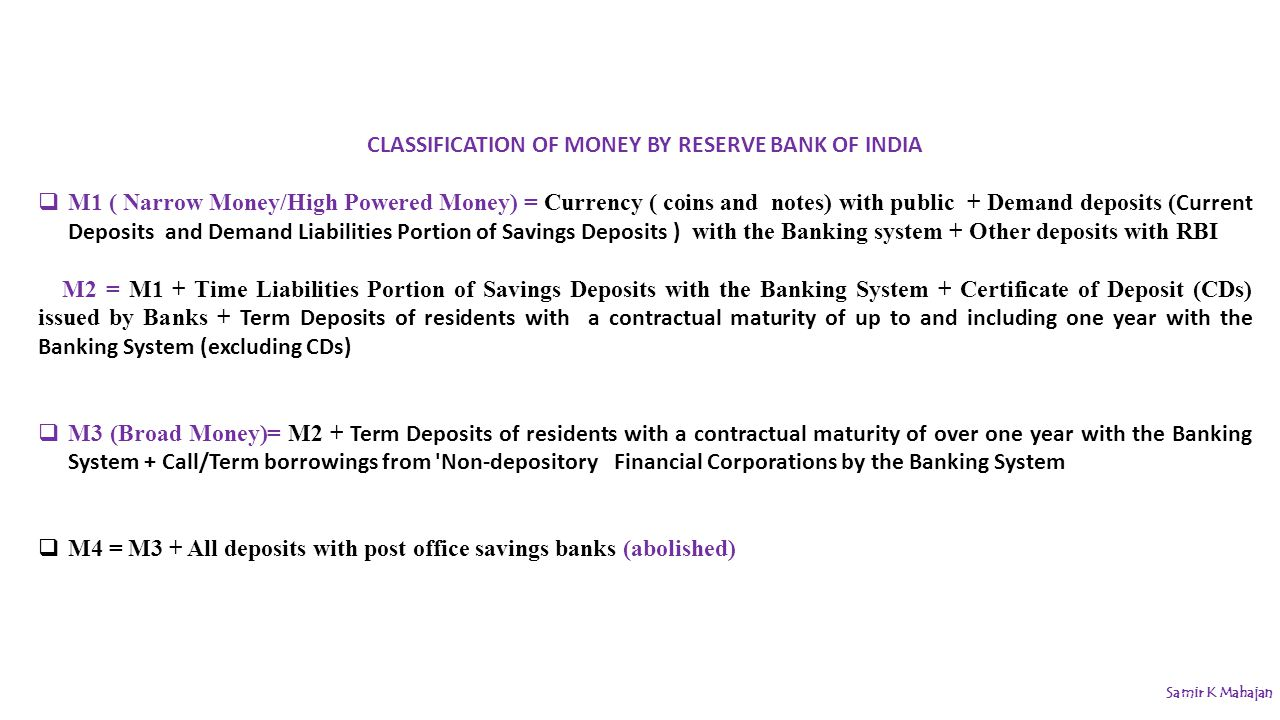 Money banking samir k mahajan ppt video online download 19 classification xflitez Choice Image