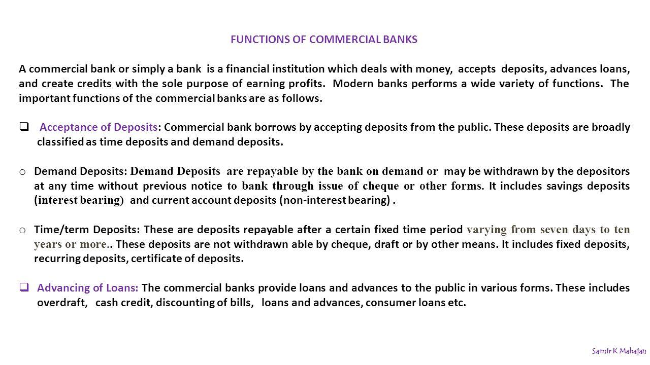 Money banking samir k mahajan ppt video online download 6 functions of commercial banks xflitez Gallery