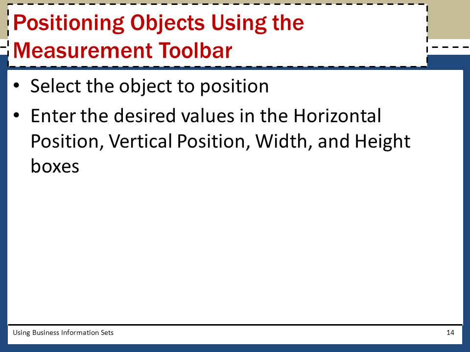 Positioning Objects Using the Measurement Toolbar