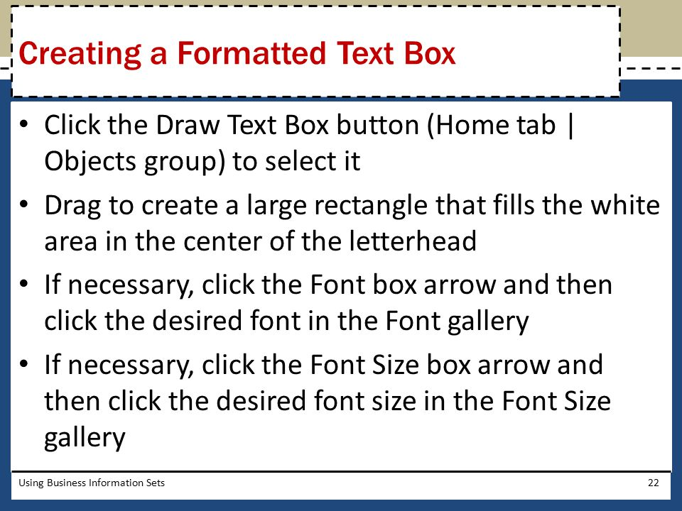 Creating a Formatted Text Box