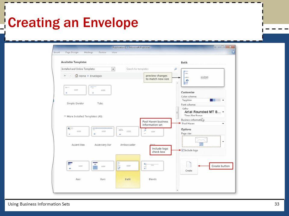 Creating an Envelope Using Business Information Sets