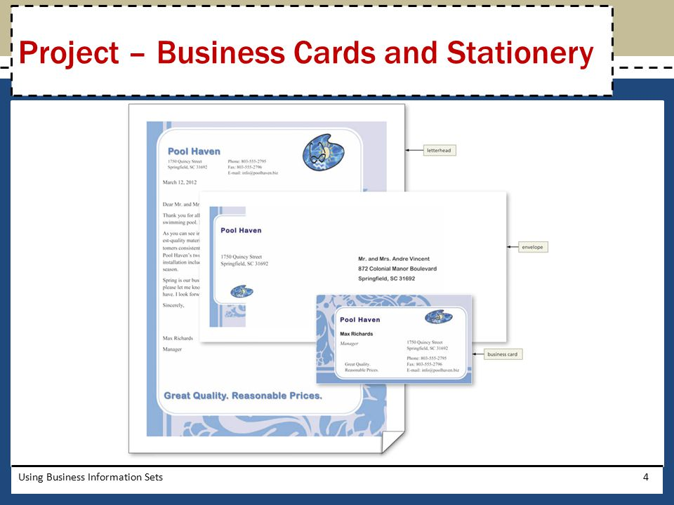 Project – Business Cards and Stationery