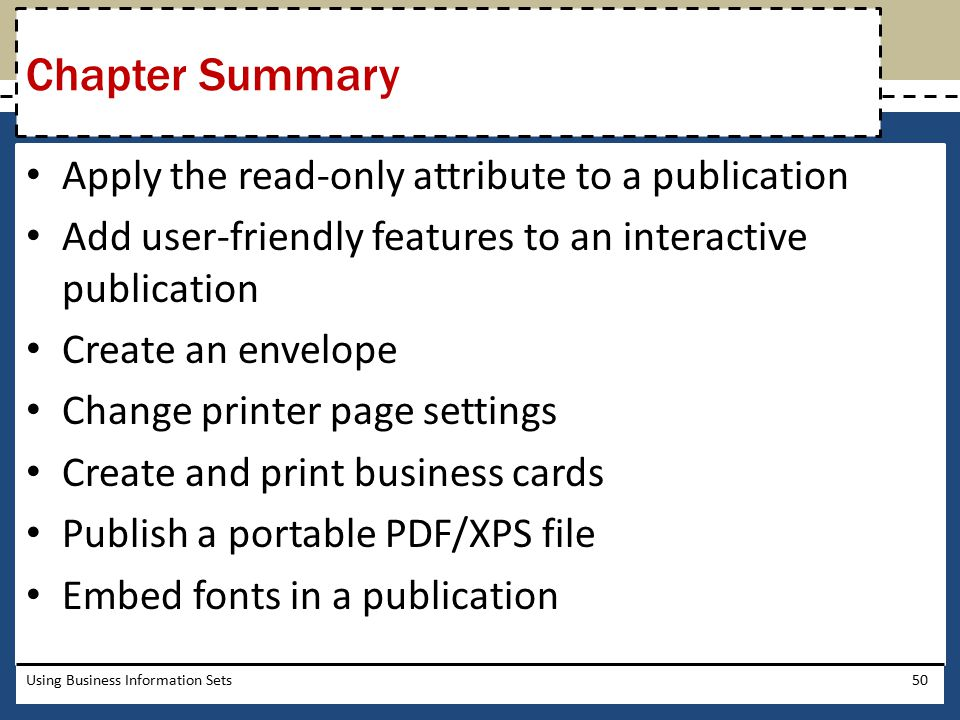 Chapter Summary Apply the read-only attribute to a publication