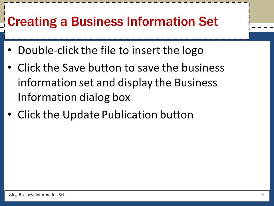 Creating a Business Information Set