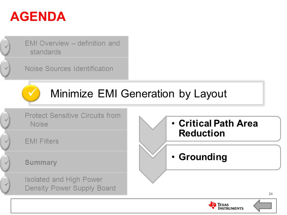 AGENDA  Minimize EMI Generation by Layout