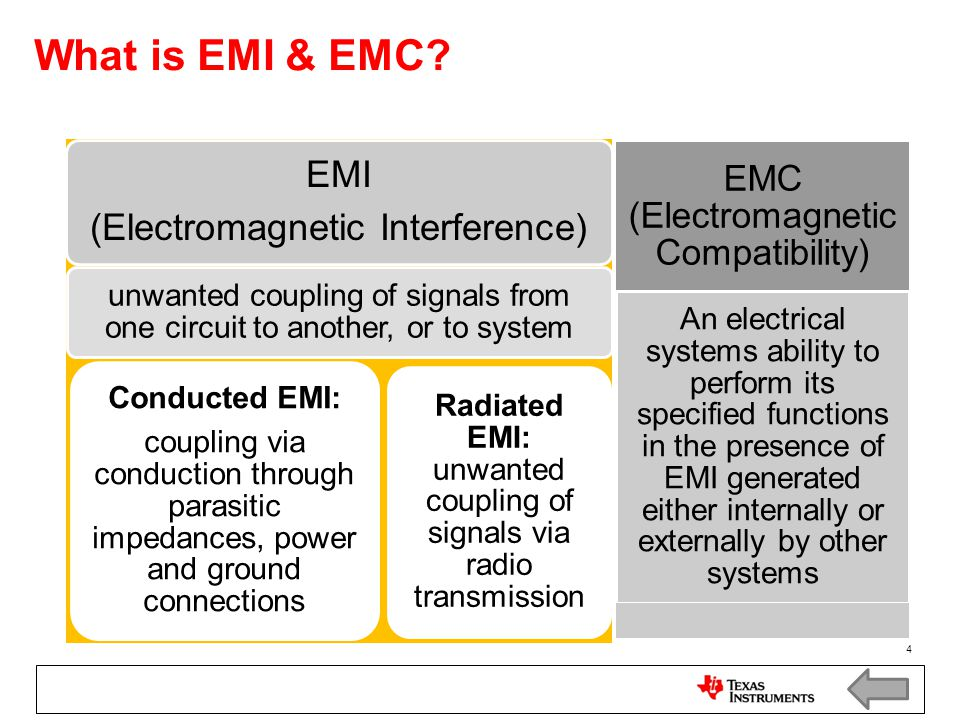 What is EMI & EMC (Electromagnetic Interference) EMI. unwanted coupling of signals from one circuit to another, or to system.