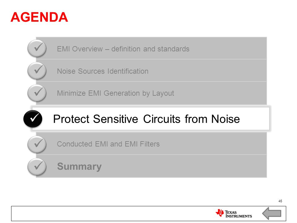 AGENDA    Protect Sensitive Circuits from Noise Summary