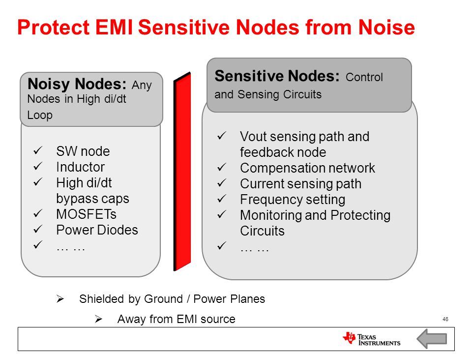 Protect EMI Sensitive Nodes from Noise