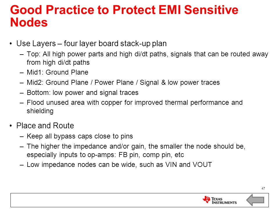 Good Practice to Protect EMI Sensitive Nodes