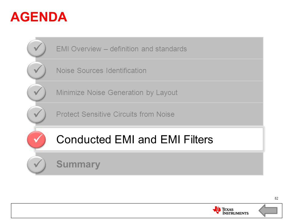 AGENDA    Conducted EMI and EMI Filters Summary