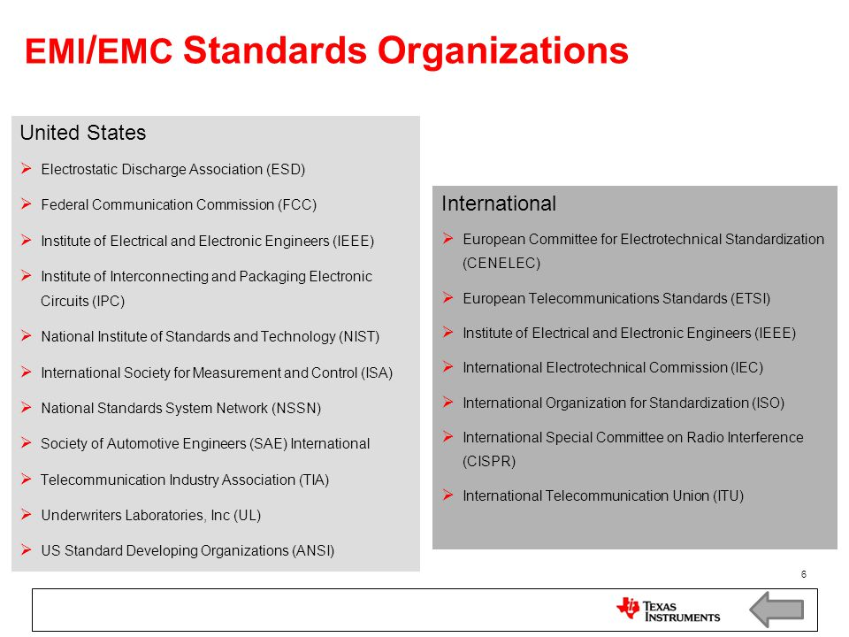 EMI/EMC Standards Organizations
