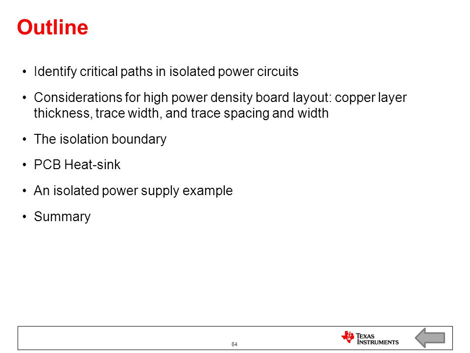 Outline Identify critical paths in isolated power circuits