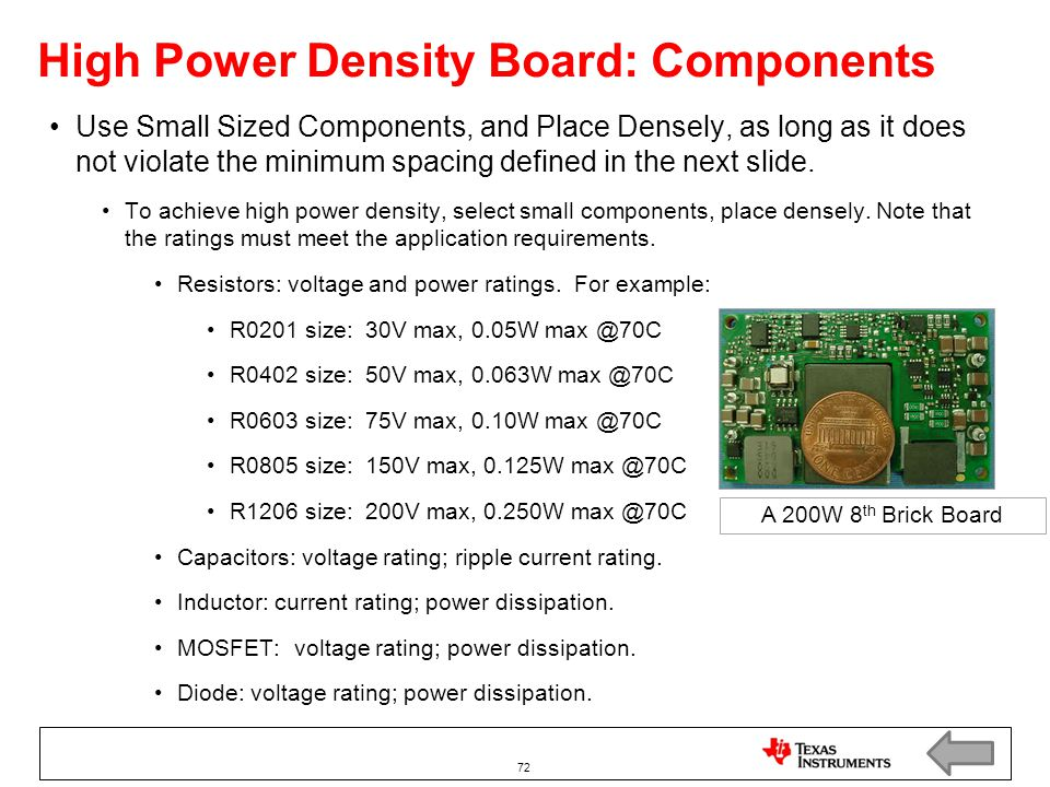 High Power Density Board: Components