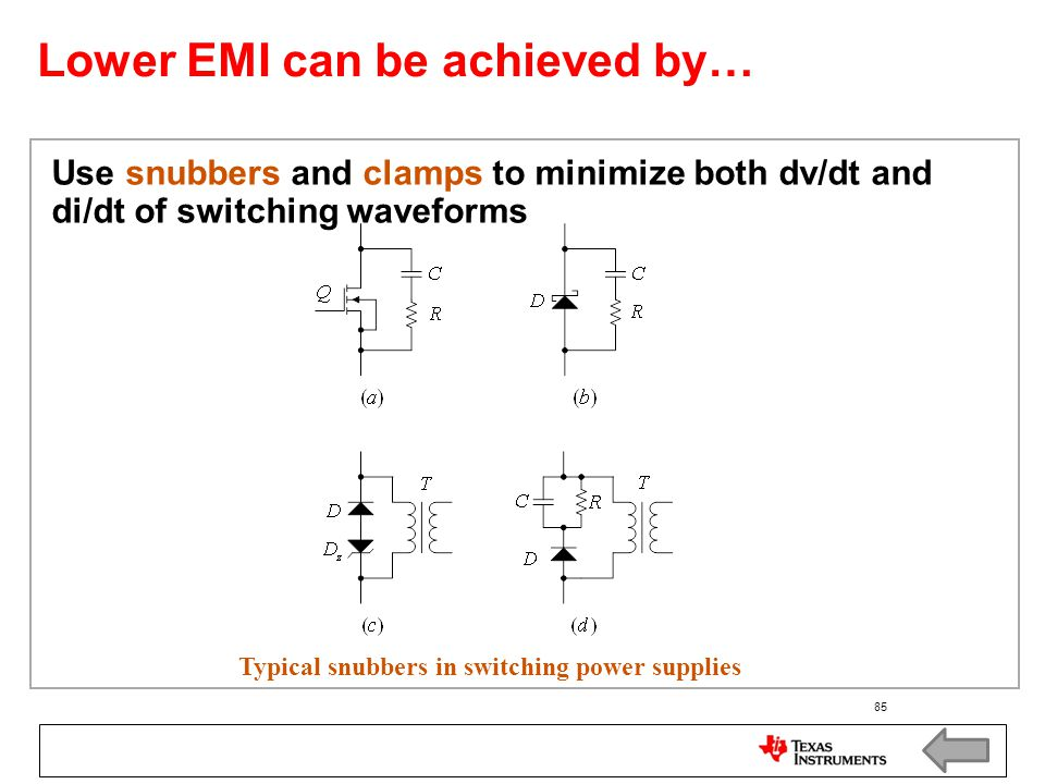 Lower EMI can be achieved by…