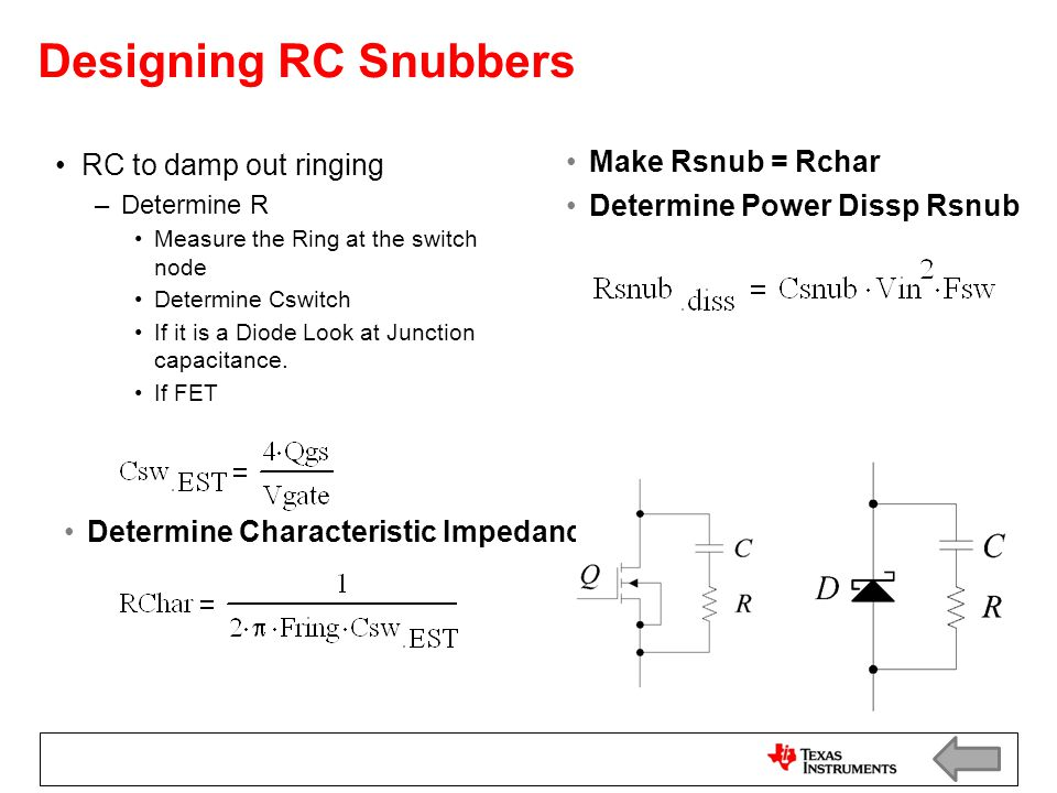 Designing RC Snubbers RC to damp out ringing Make Rsnub = Rchar