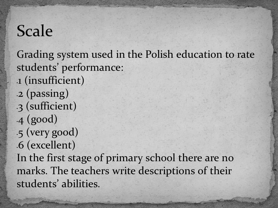Scale Grading system used in the Polish education to rate students' performance: 1 (insufficient) 2 (passing)