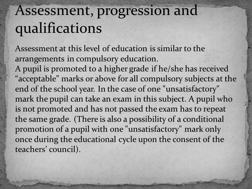 Assessment, progression and qualifications