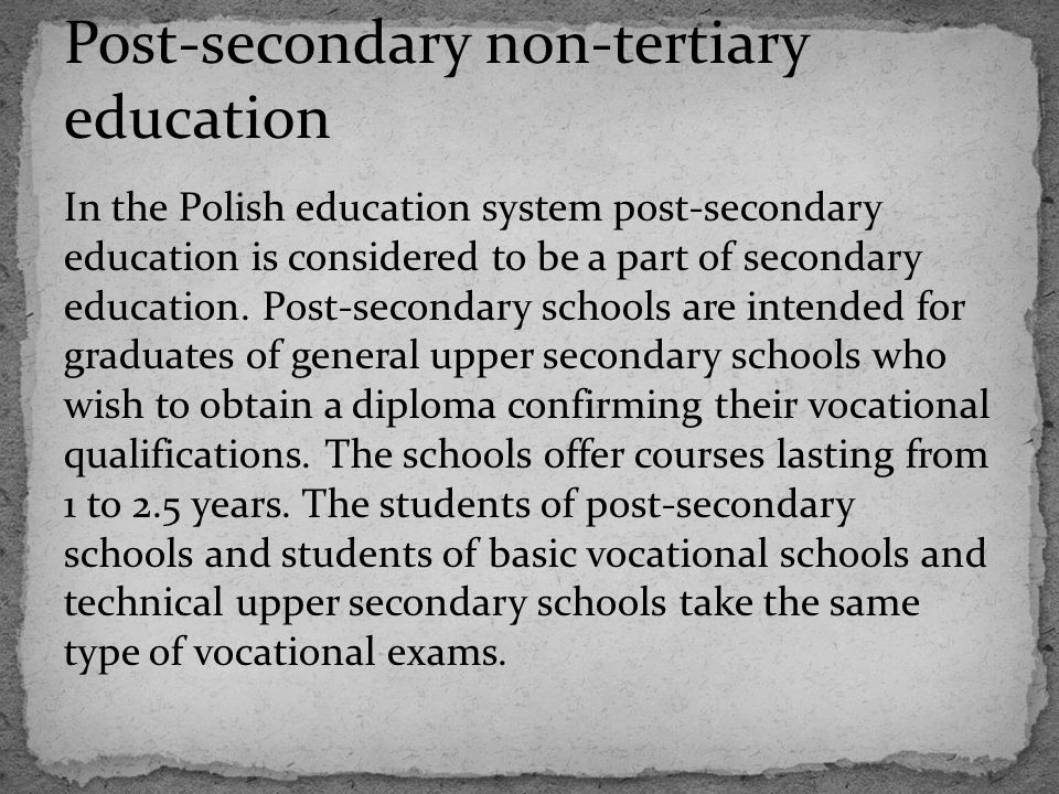 Post-secondary non-tertiary education