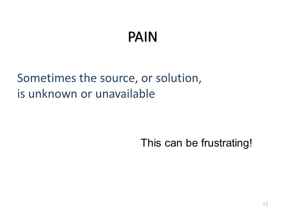 Pain and Debilitating Conditions