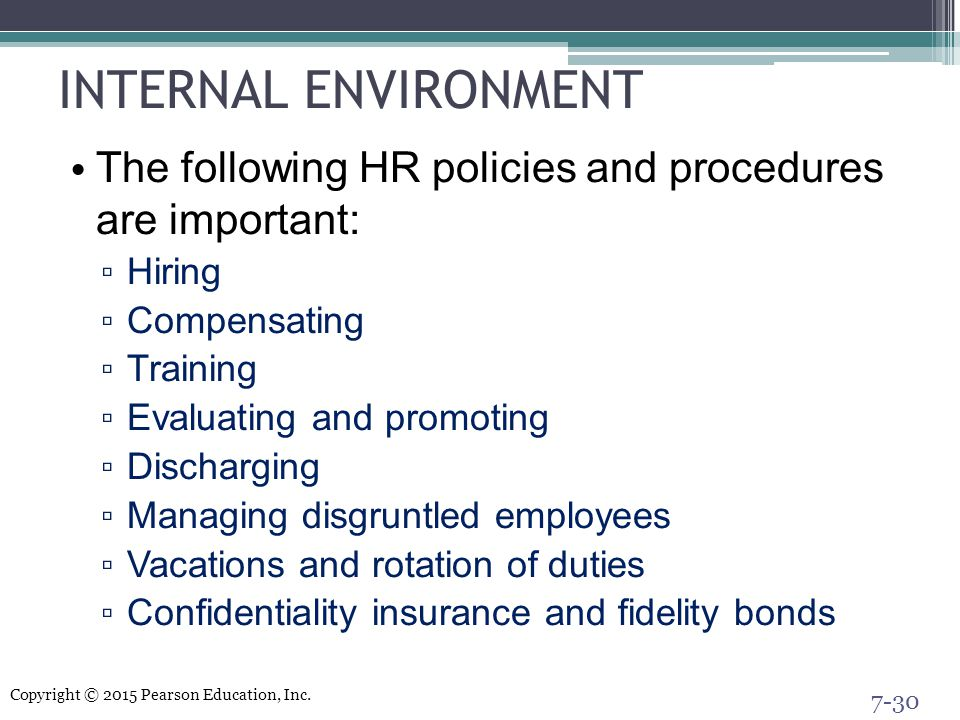 INTERNAL ENVIRONMENT The following HR policies and procedures are important: Hiring. Compensating.