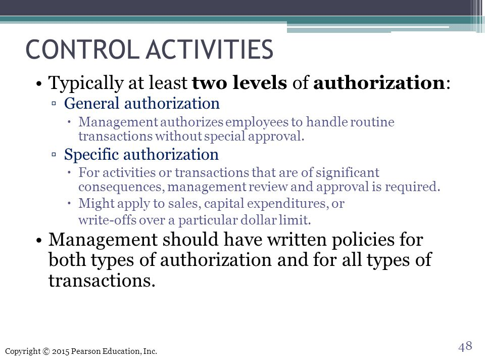 CONTROL ACTIVITIES Typically at least two levels of authorization: