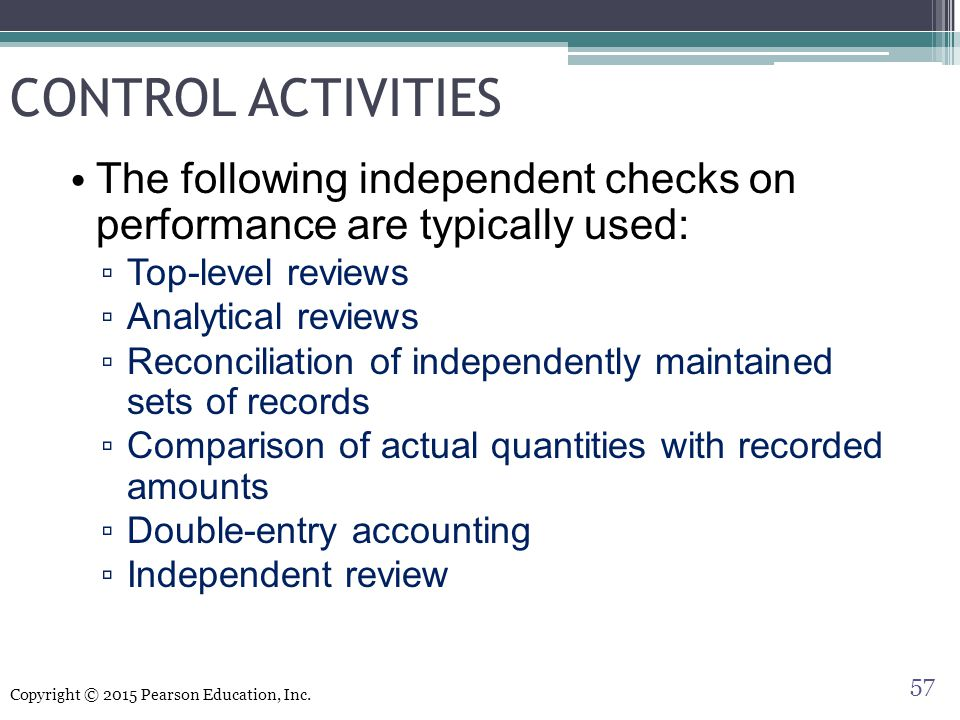 CONTROL ACTIVITIES The following independent checks on performance are typically used: Top-level reviews.