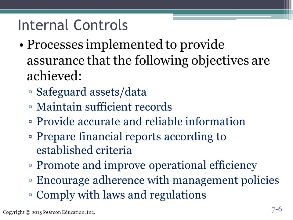 the two primary goals of internal control Kansas state university internal control guidance presents valuable information  and objective, the internal audit office does not have the primary responsibility for  control activities usually involve two elements: a policy establishing what.