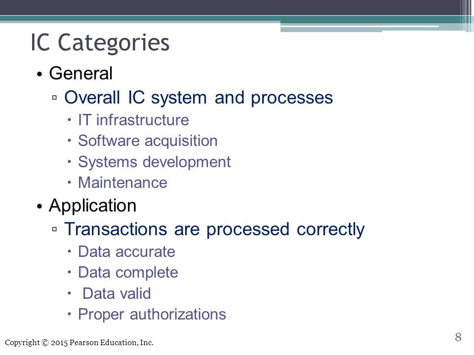 IC Categories General Overall IC system and processes Application