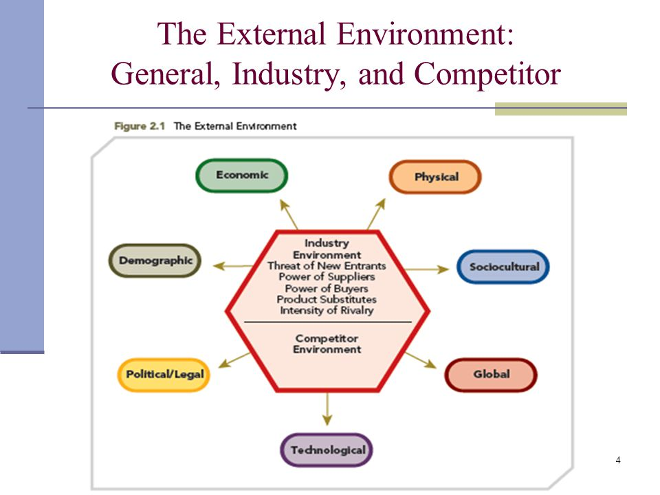 an overview of the external environment and the six segments of the general environment