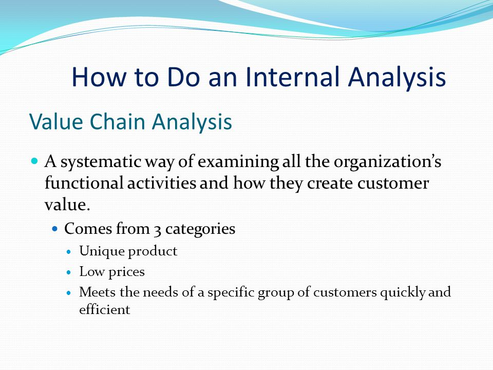 chapter 3 internal analysis Learn how to conduct a swot analysis to identify situational strengths and  3 4  threat-strength (ts) strategies use strengths to avoid threats 1 2.