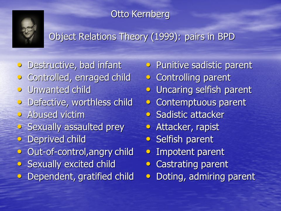 Otto Kernberg Object Relations Theory (1999): pairs in BPD