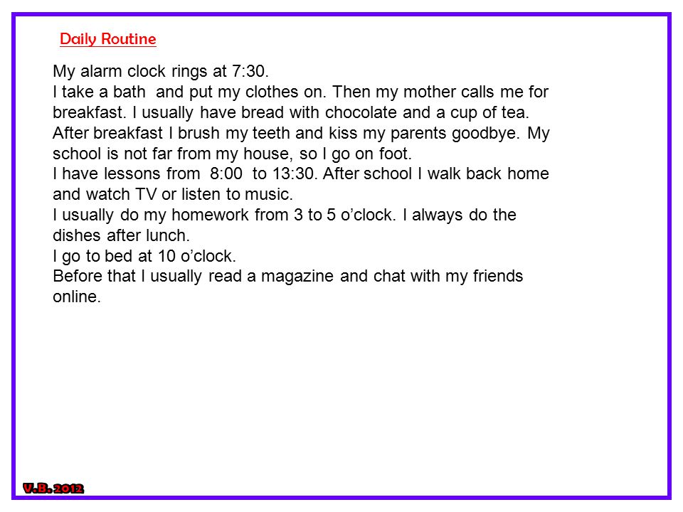 mother's daily routine essay