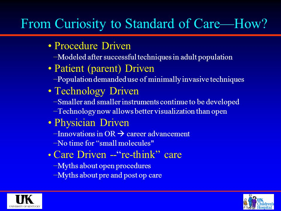 From Curiosity to Standard of Care—How