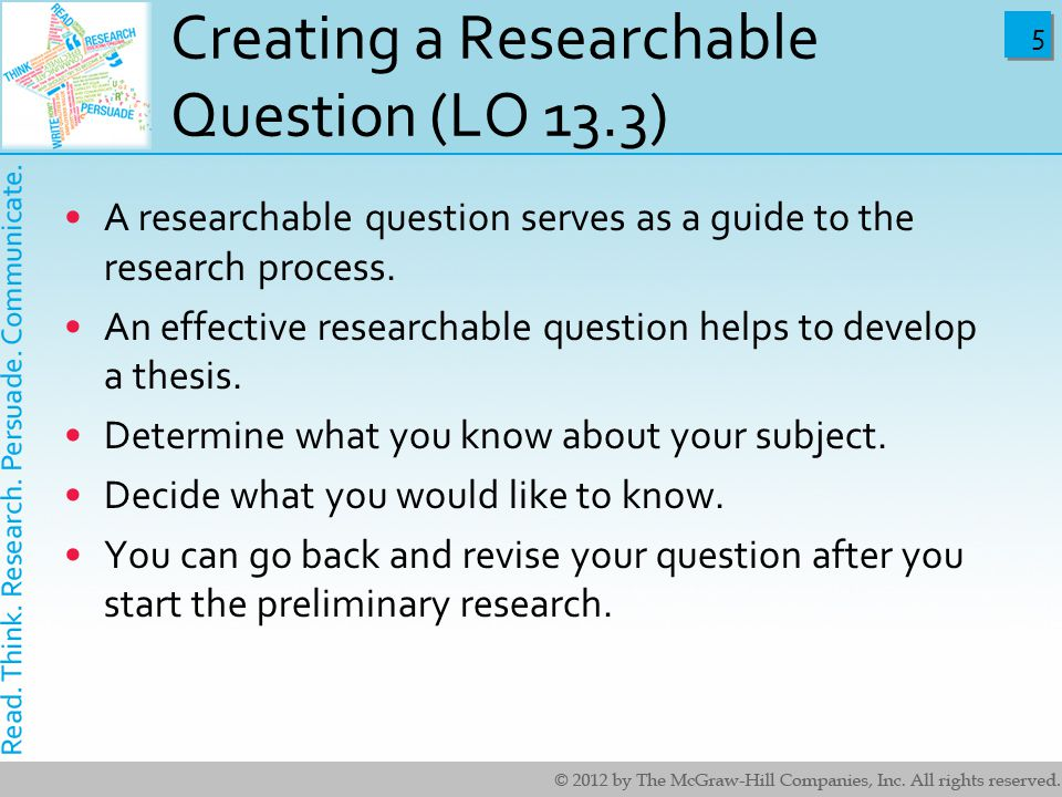 asking questions in research papers Questions to ask yourself as you revise your essay back to revision concrete evidence, research, etc are the sentences concise, clear, and emphatic.