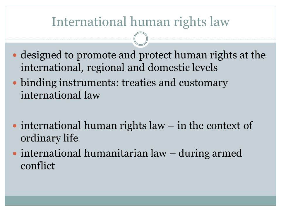 the international humanitarian law human rights Directorate of international humanitarian law and human rights inception and  affiliation the directorate was created as an office in 2009 then upgraded into a .