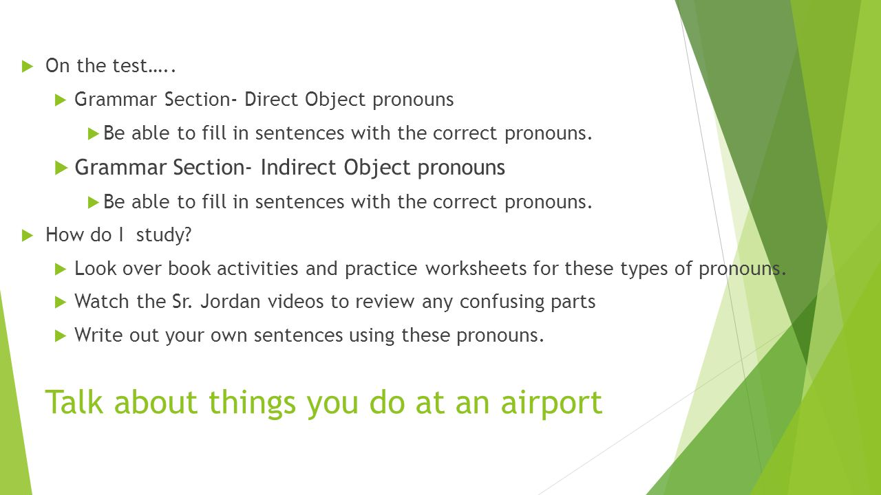 Spanish 2 Unit 11 Test Info ppt video online download – Direct and Indirect Object Pronouns Spanish Worksheets