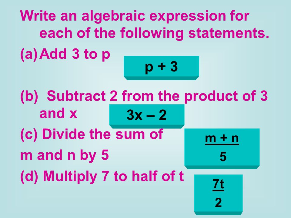 how to write an algebraic expression I can use the algebraic expression for each of the walls to find x  write right learn writing in the blogosphere: top 10 writing blogs  writing & evaluating algebraic expressions for two .
