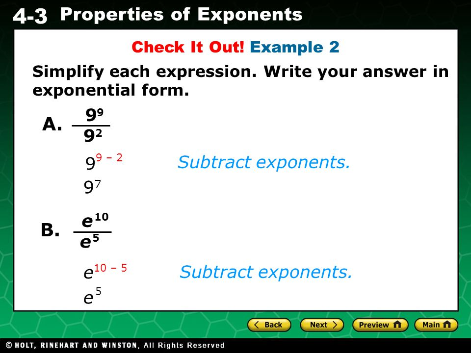 Write an expression in exponential form