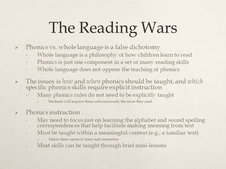 phonics vs whole language teaching The whole word or whole language approach has been the method of choice in most schools in the us since the late 1930s  home  teaching reading  phonics .