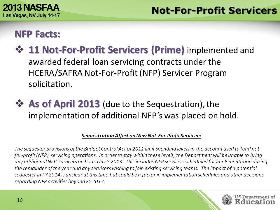 Not-For-Profit Servicers