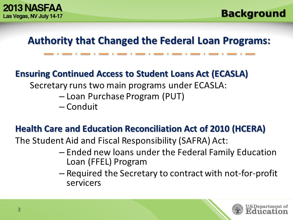 Authority that Changed the Federal Loan Programs: